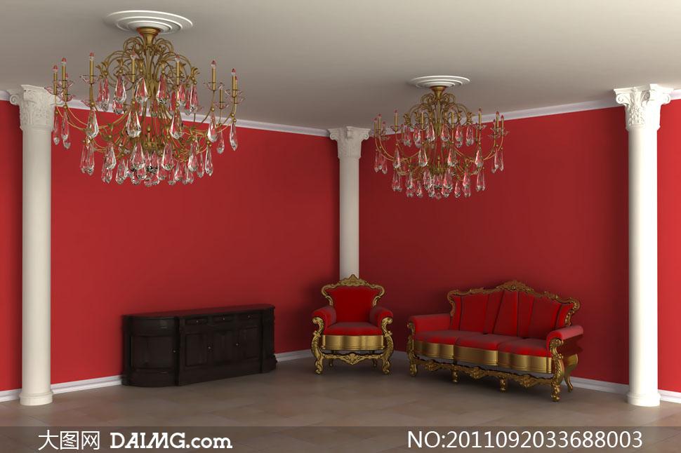 欧式沙发吊灯与红墙廊柱高清摄影图片