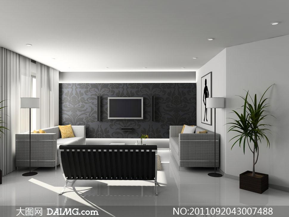 墙纸壁纸电视机黑色灰色地砖喇叭音箱家庭影院顶灯