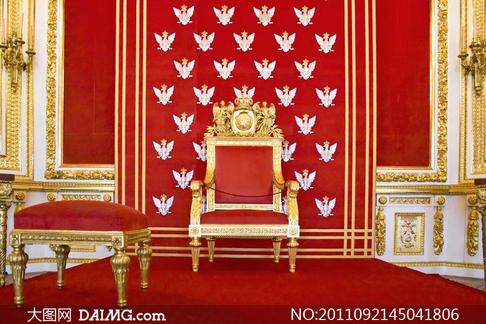 欧式皇家宫廷华丽室内摆设高清摄影图片