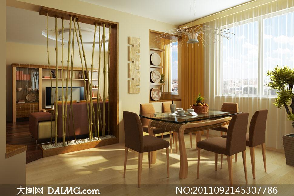 客厅与餐厅布置摆设高清摄影图片