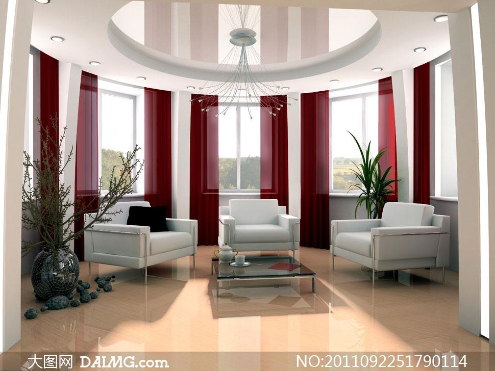 豪华别墅客厅室内装修高清摄影图片