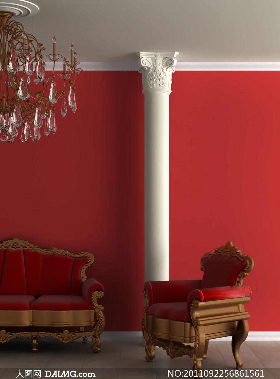 欧式室内沙发吸顶灯装饰高清摄影图片