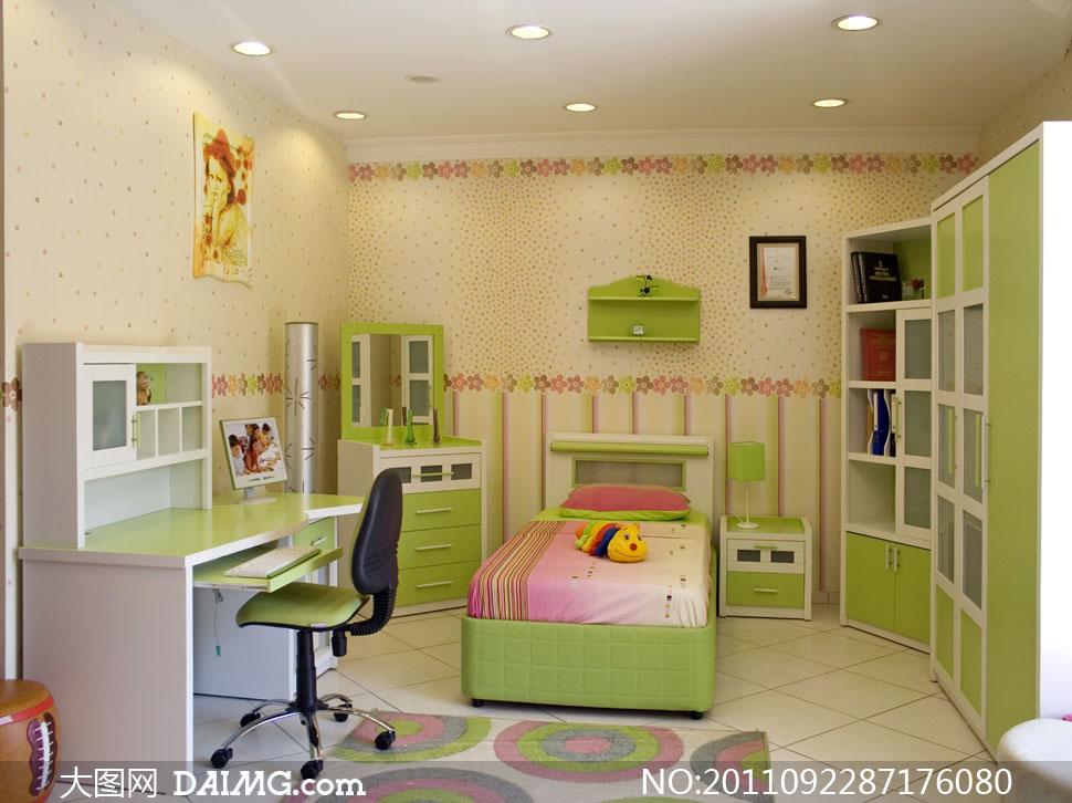 绿色清新风格儿童房装修效果图