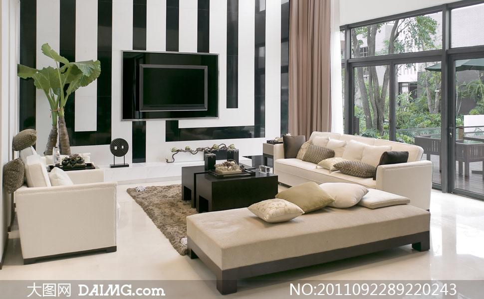 客厅电视墙与家具陈设高清摄影图片 - 大图网设计素材