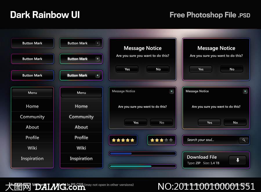 黑色风格网页ui设计psd素材