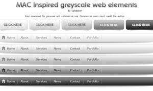 网页导航条和按钮设计PSD素材