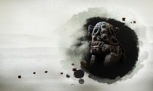 中国风水墨石象广告背景PSD素材