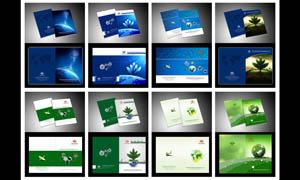 蓝色和绿色画册封面设计PSD源文件