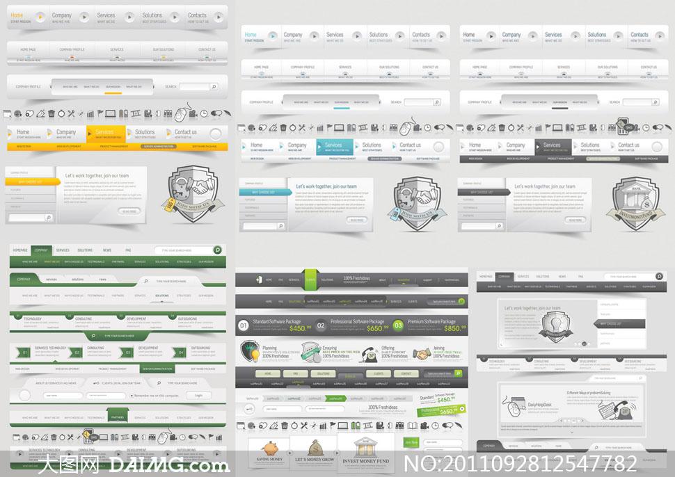矢量素材矢量图网页模板网页设计界面设计网页元素设计元素导航栏菜单图片
