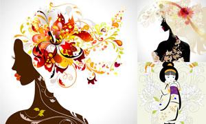 时尚花纹与美女插画矢量素材