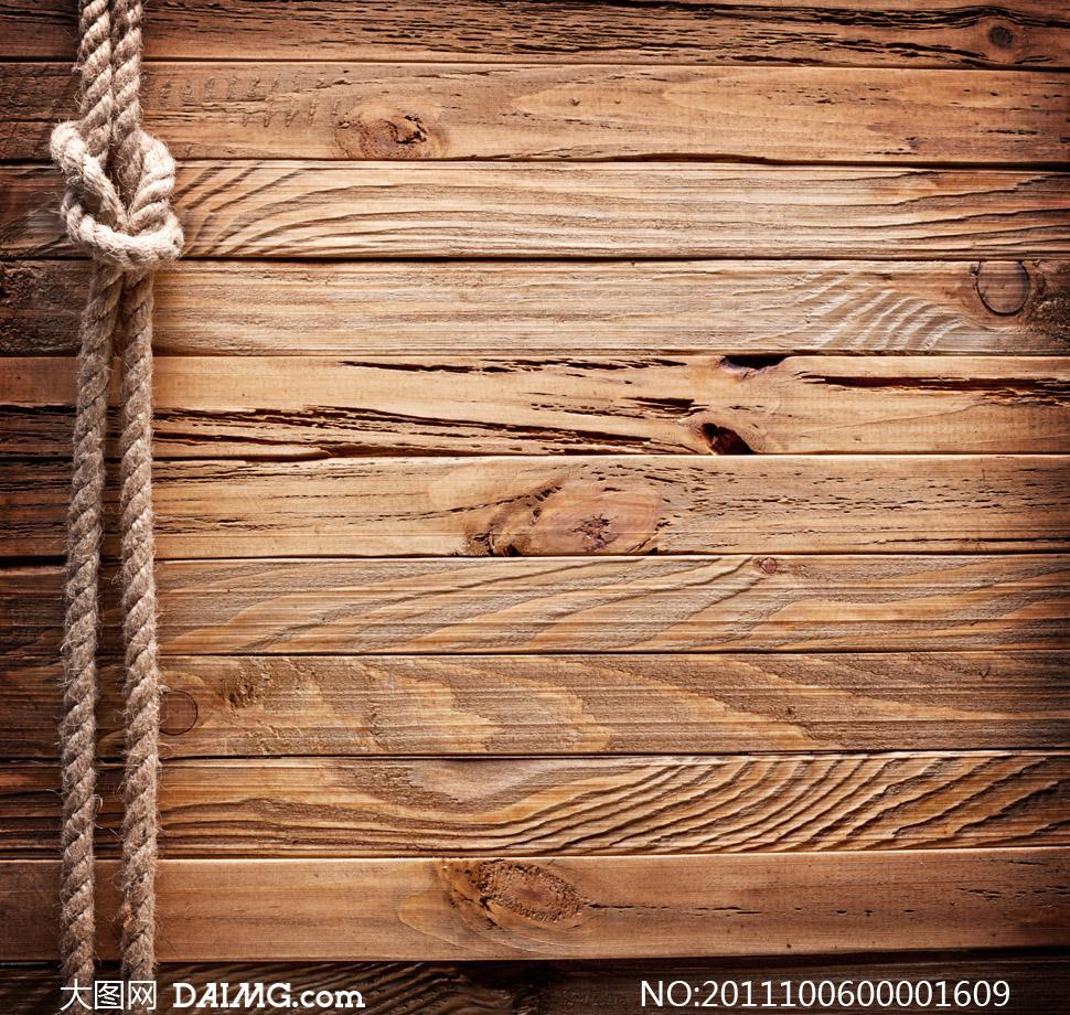 ƌ�着绳子的木板纹理图片素材 Ť�图网设计素材下载
