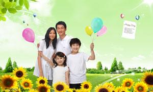 手拿气球的儿童与向日葵风景PSD分层素材