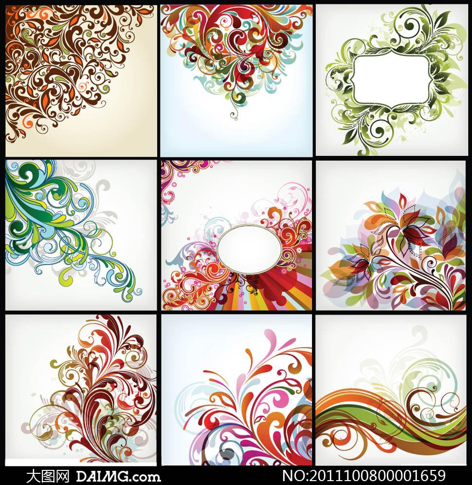 华丽的欧式花纹设计矢量素材