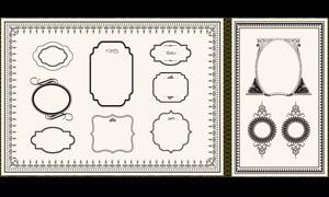 古典花纹花边框设计矢量素材