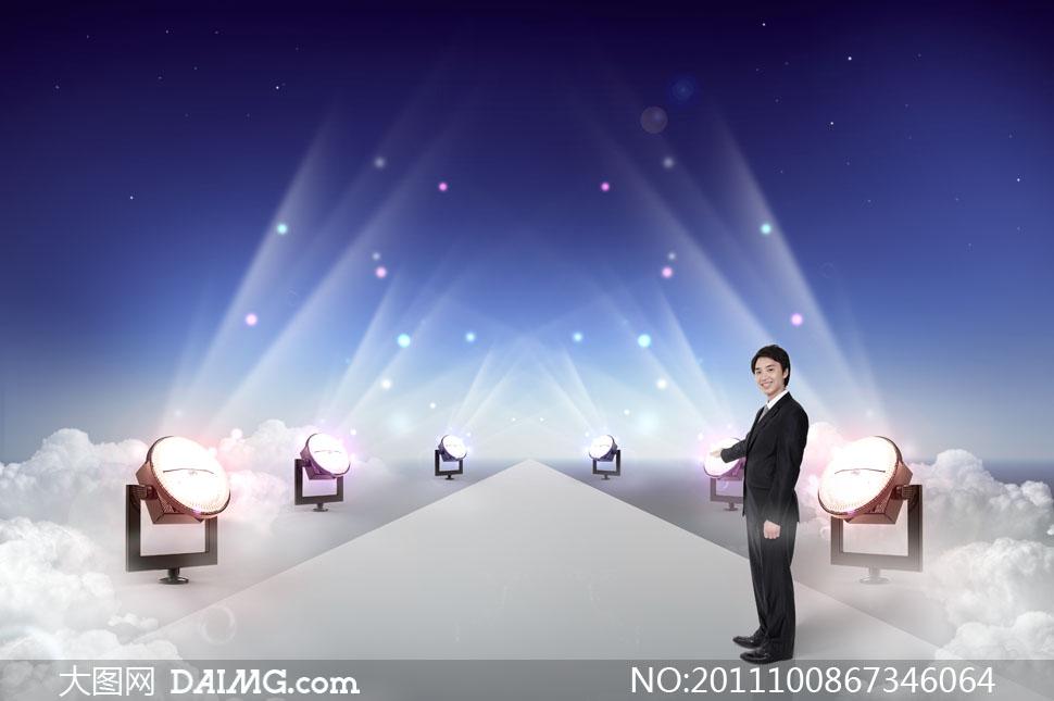 星光大道上的聚光灯与商务人物PSD分层素材