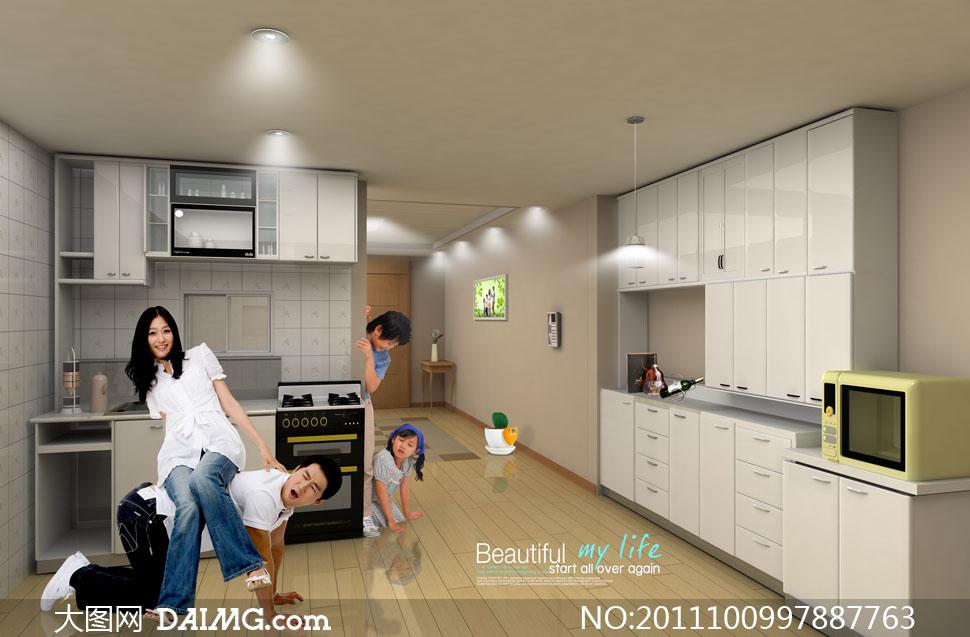 在厨房里开心快乐的一家人psd分层素材图片