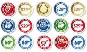 精美超市商品圆形促销标签矢量素材