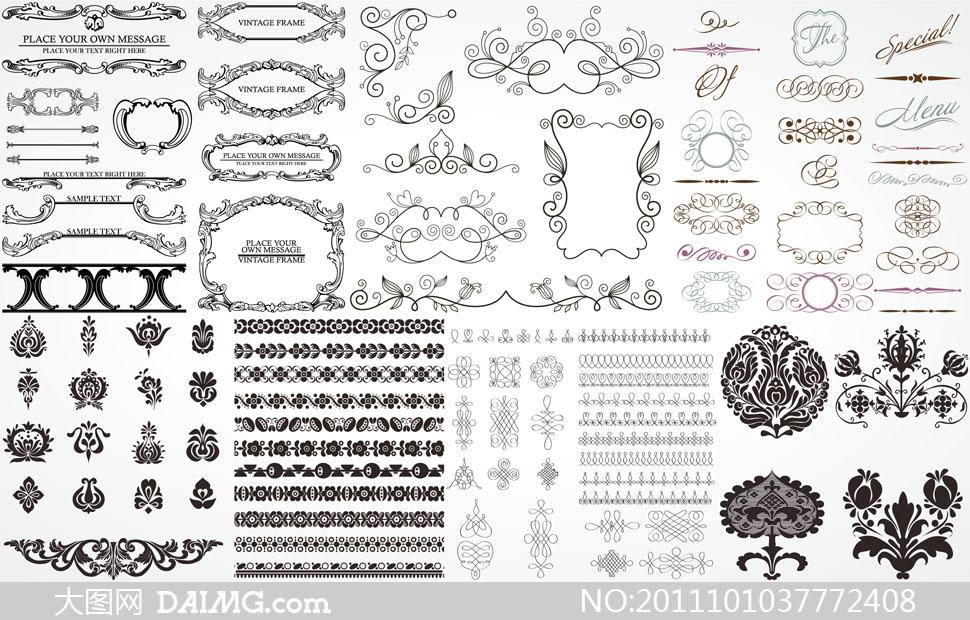 欧式西方古典花纹边框矢量素材