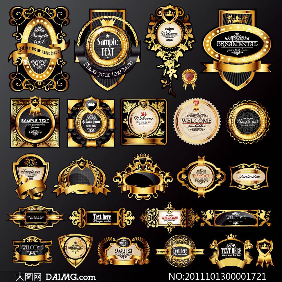 金色欧式标签设计矢量素材