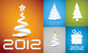 2012圣诞节白纸折叠效果创意设计矢量素材
