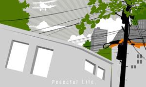 掩映在电线与树荫之中的房子矢量素材
