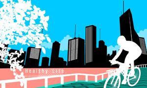 骑自行车的人物与城市建筑物剪影矢量素材