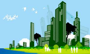 城市建筑物树木与人物剪影矢量素材