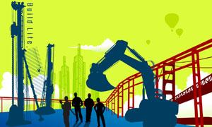 建筑工人与城市建筑物剪影矢量素材