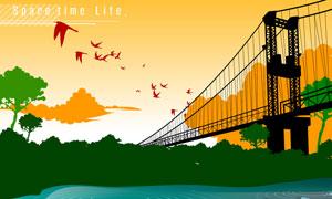 河水大桥与自然风景剪影矢量素材