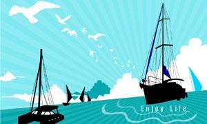 航行在大海上的船只矢量素材
