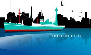 航行在水面上的大型轮船矢量素材