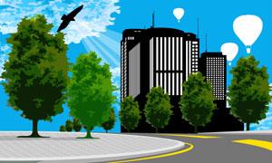 城市建筑物与大树剪影矢量素材