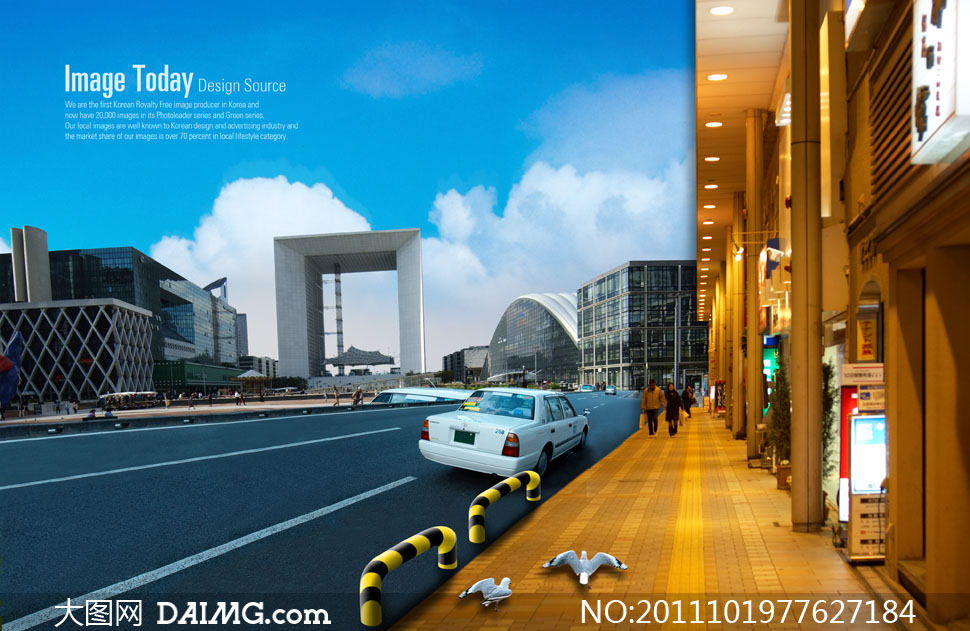城市建筑物与街道风景psd分层素材