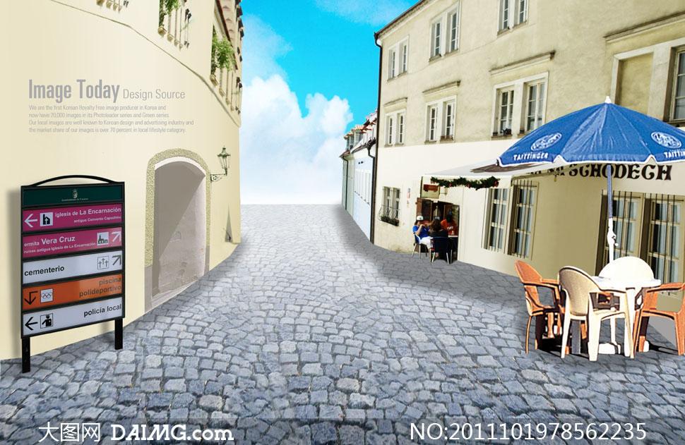 铺砖地面与城市欧式古典楼房psd分层素材