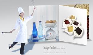 五谷杂粮与美女厨师人物PSD分层素材