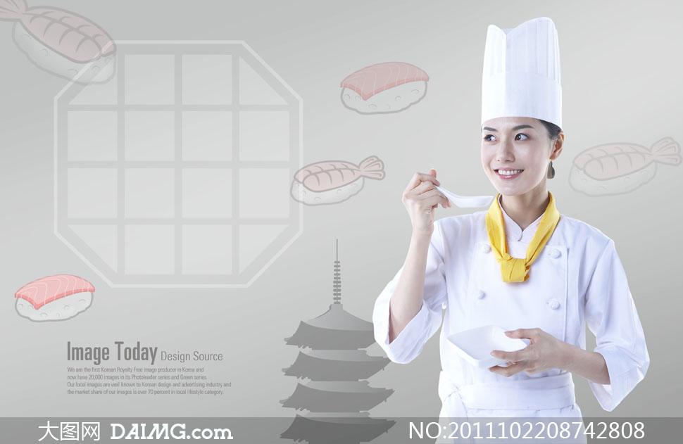 美女分层美味的漫画人物美女PSD品尝素材帅哥正在厨师强吻图片