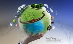 单手托着的地球创意PSD分层素材