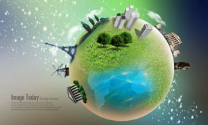 建筑物与地标地球创意PSD分层素材