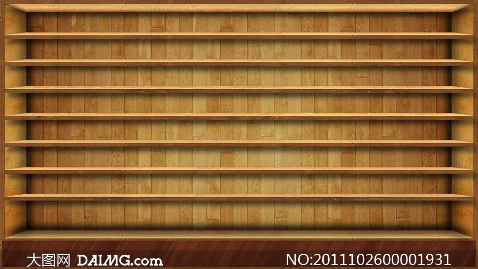 木纹书格柜子木柜书房家具纹理高清图片素材