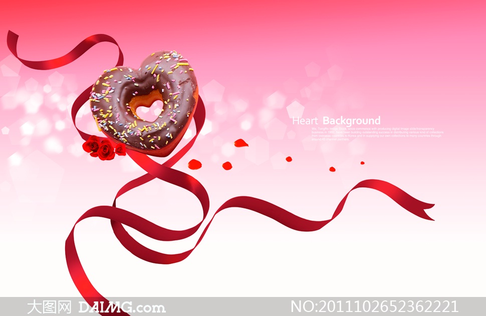 心形甜甜圈与红色丝带PSD分层素材