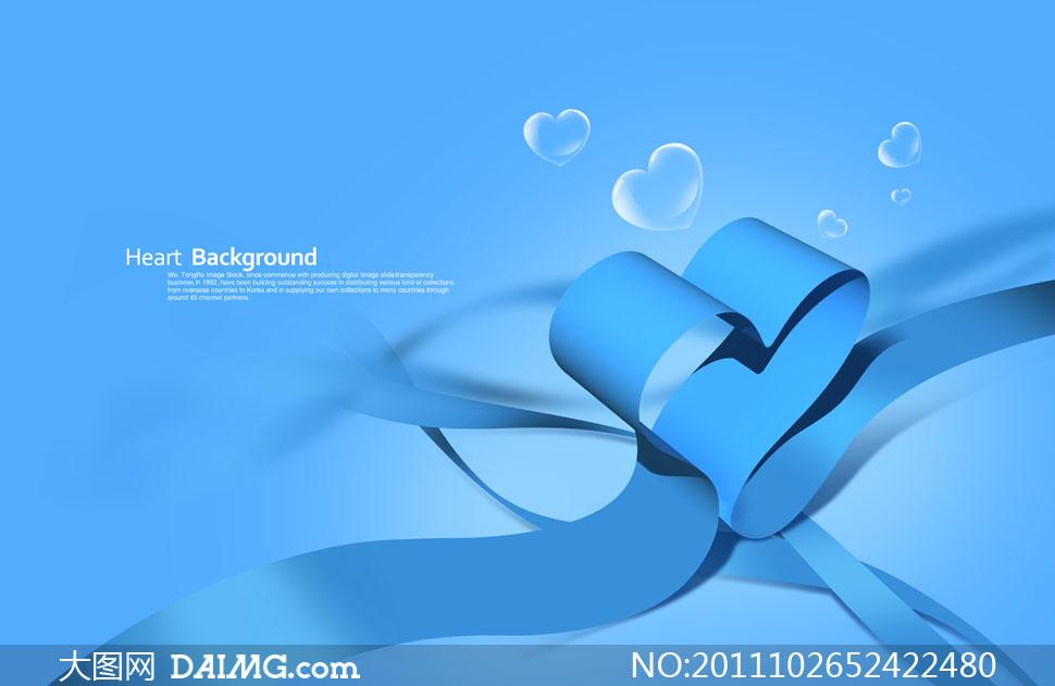 心形泡泡与蓝色心形丝带PSD分层素材