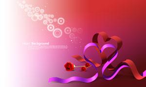 两个心形丝带与玫瑰花PSD分层素材