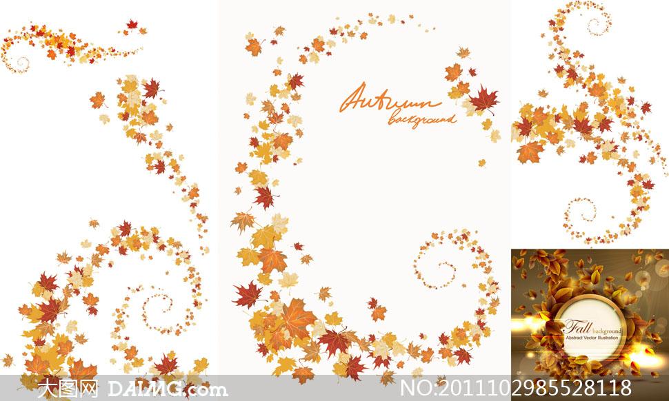 秋天萧瑟树叶背景矢量素材