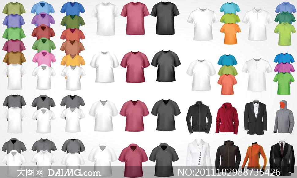 短袖t恤衫等服装设计模板矢量素材图片