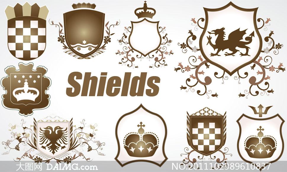 欧式古典盾牌花纹装饰边框矢量素材