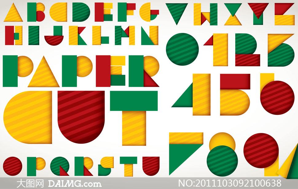 创意拼贴英文拼贴字体设计矢量素材