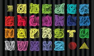 鲜艳明亮斜纹装饰字母矢量素材