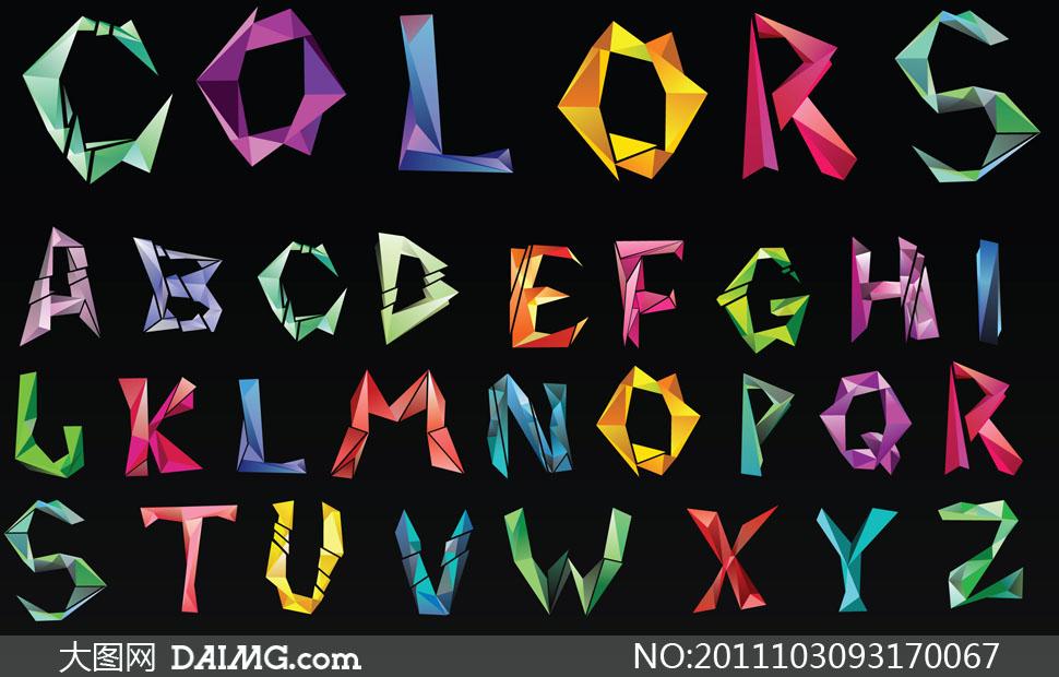 不规则几何图形组成的字母矢量素材