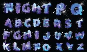 星光线条缠绕的立体字体矢量素材