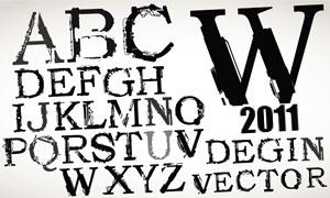 颓废机械剪影字体设计矢量素材
